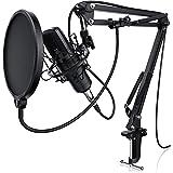 LIAM & DAAN - Micrófono condensador + Suspensión Brazo de tijera Soporte Ajustable + Tabla Abrazadera de montaje + Metal montaje de choque +1 Pop filtros