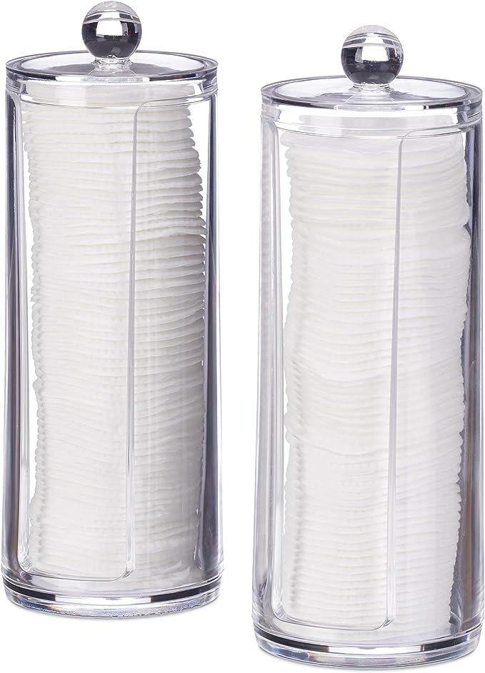 Relaxdays Pack 2 Dispensadores Discos Desmaquillantes Algodón, Algodonero con Tapa, Plástico, 19 x 6.5 cm, Transparente, 2 Uds: Amazon.es: Hogar