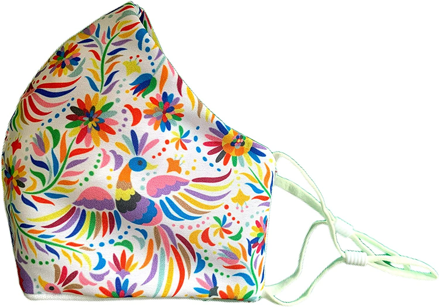 Floral Spring | Flowers | Safety Reusable & Washable Anti Dust Mouth Fashion Balaclava Cover | Breathable Bandanna with Filter Slot | Inside Layer Cotton 100% | Women | Adjustable Ear Loops White