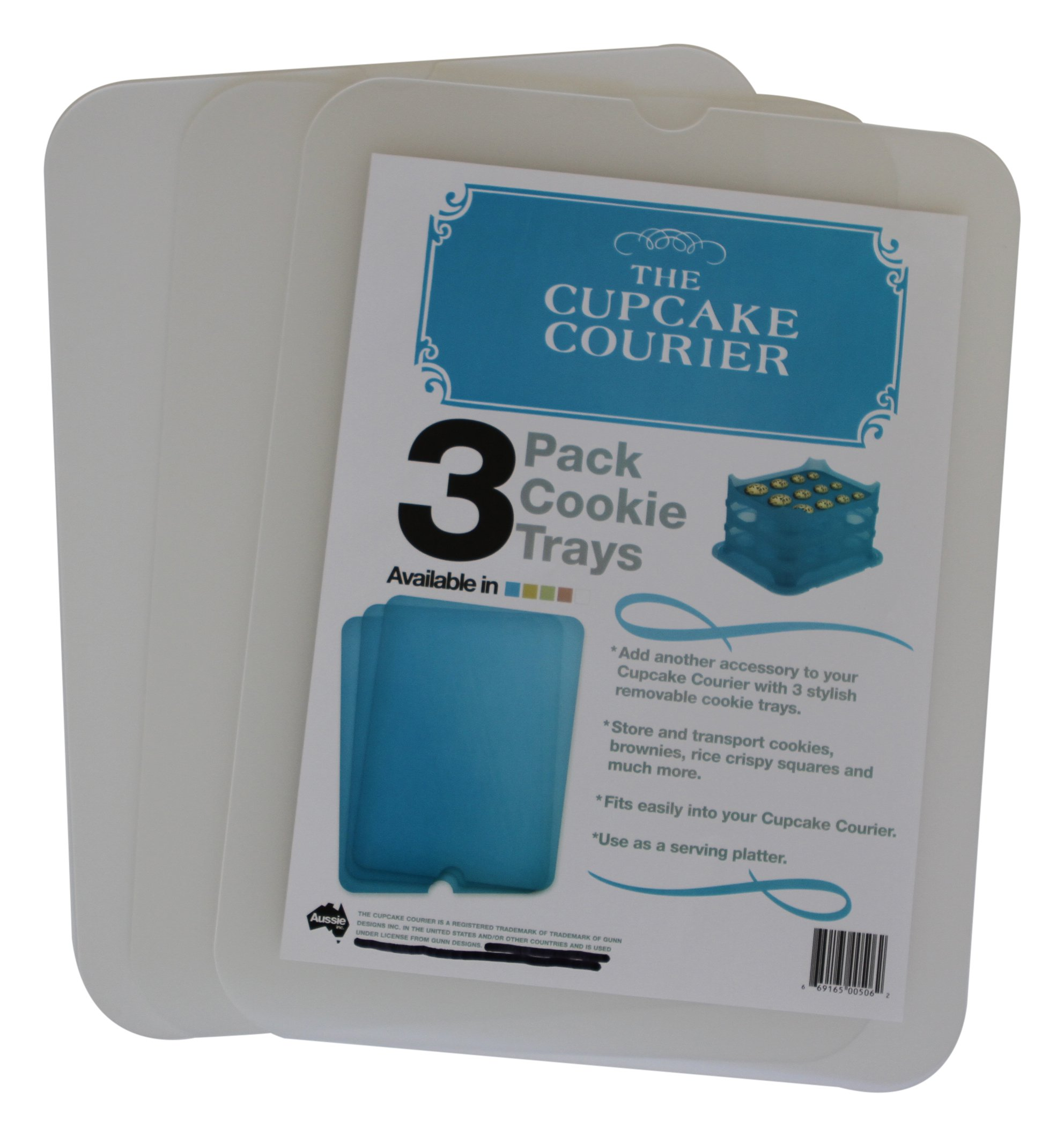 Cupcake Courier G0239 The Cookie Tray 3 Pack, White Translucent, , Crystal Clear
