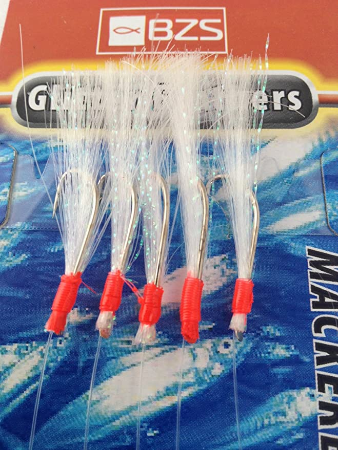 tinsel shrimp silver daylite flash 10 x Mackerel mackeral Feathers Rigs Lures