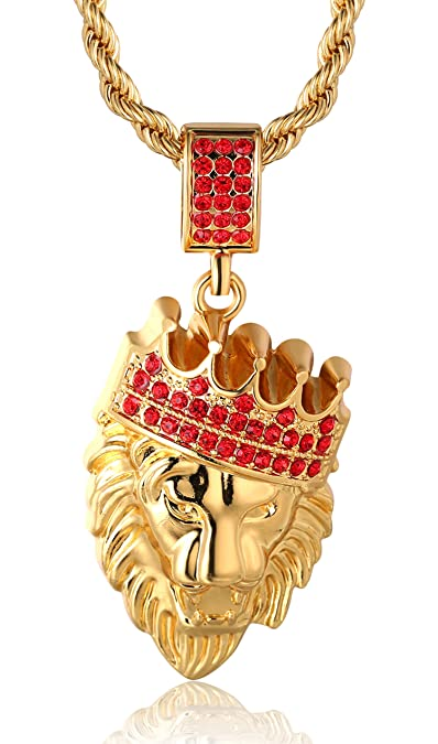 8a963f956cd4b Halukakah  quot KINGS LANDING quot  Men s 18k Real Gold Plated Crown Lion  Pendant Necklace with