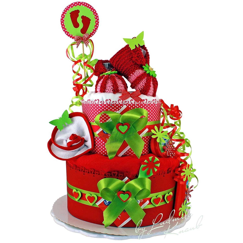 Gâteau de couches Nouveau-né Princesse dans un beau farbenfreudigen Rouge - Vert Argile//Cadeau de naissance, baptême, baby shower//Cadeau Original et ...