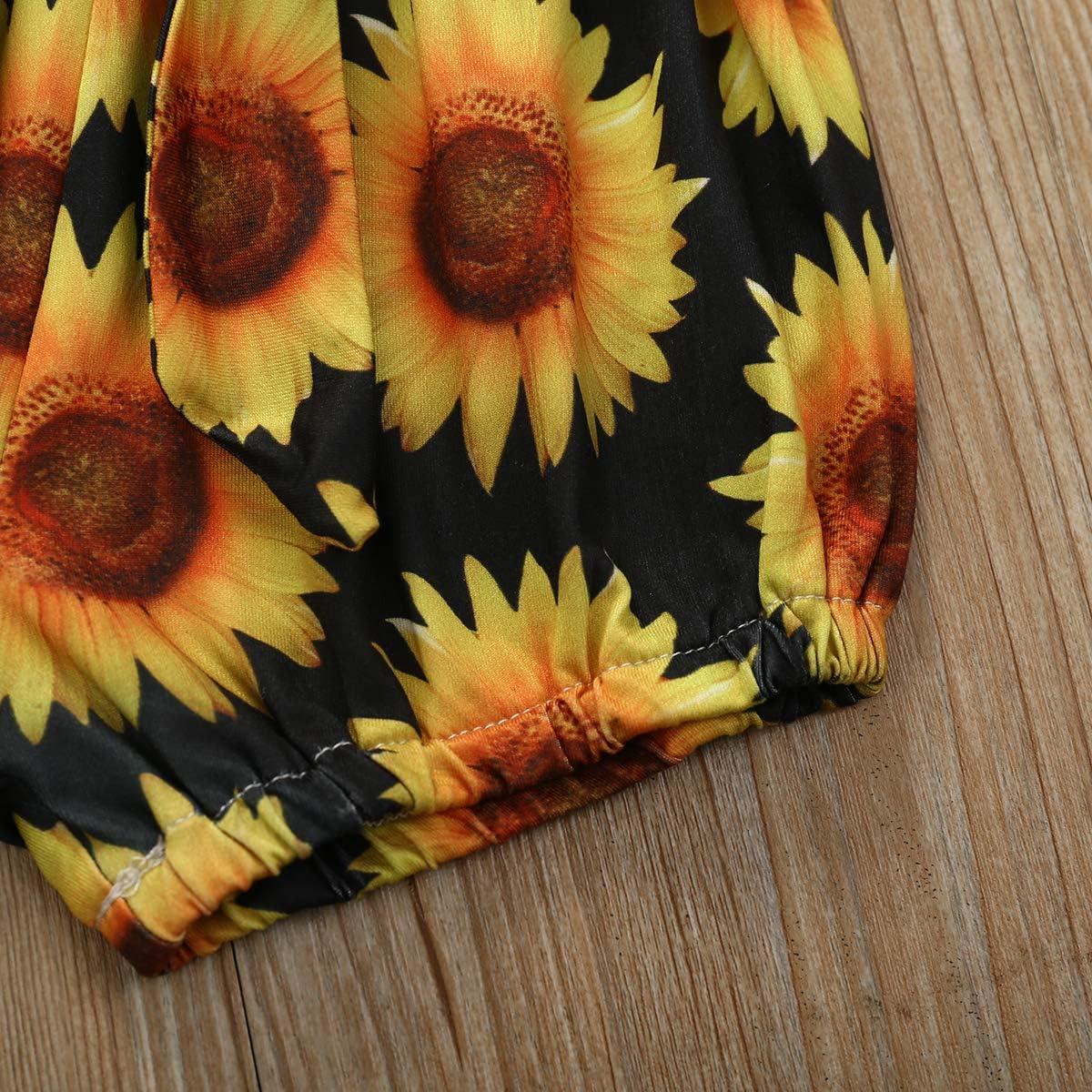 parte superior de girasol Geagodelia pantalones cortos con diadema 3 piezas Juego de ropa para beb/é reci/én nacido con volantes de verano manga corta