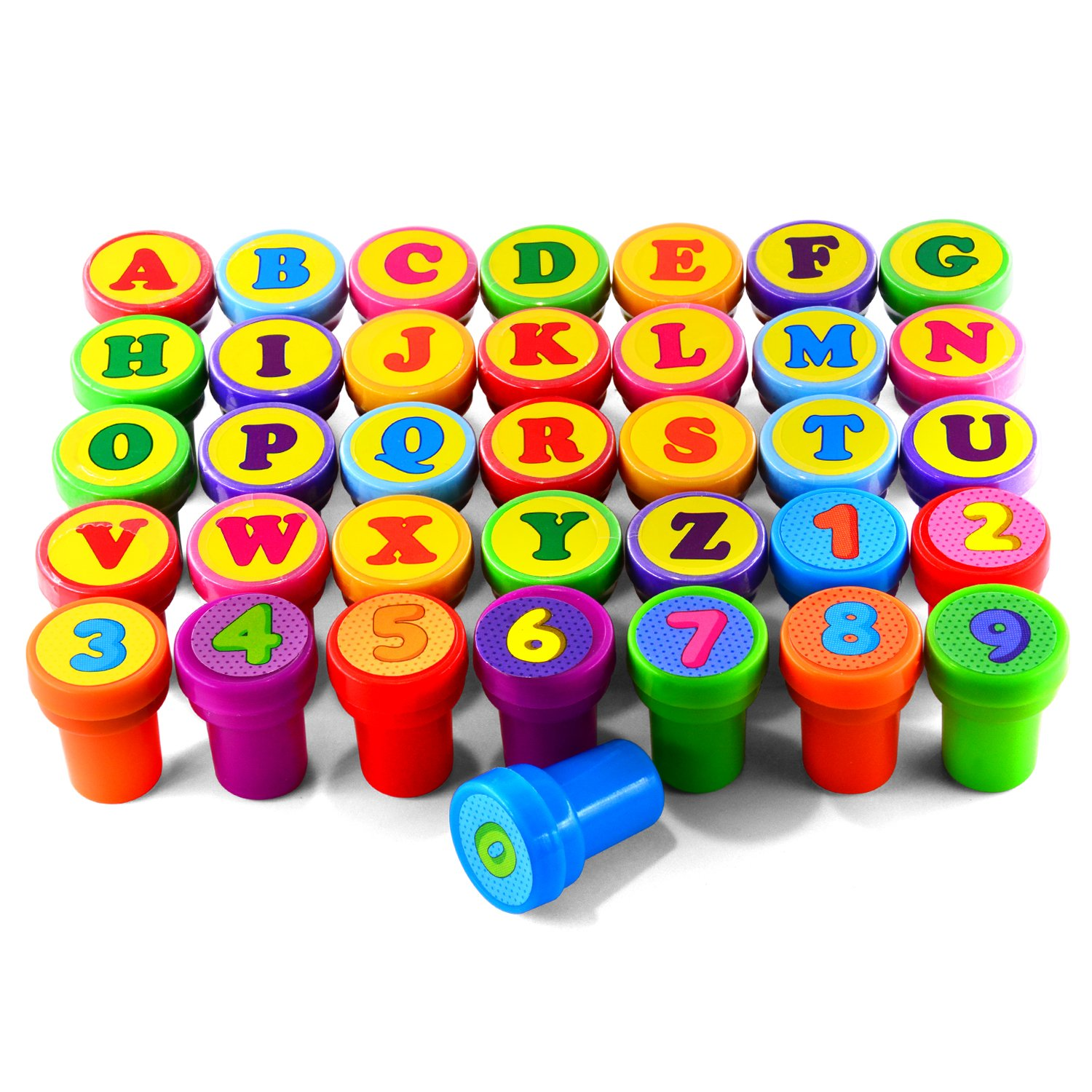 Hawksbill Colorful Self Inking Stamps Plastic Alphabet and Number Stamps Set for Children Party Favor, School Prizes, Birthday Gift, Learn Props