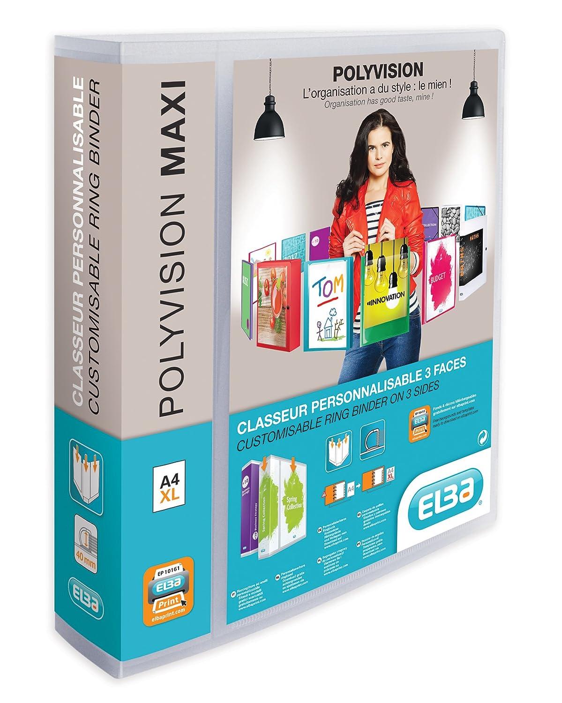 Elba Polyvision Maxi Presentation Binder Polypropylene 4 D-Ring 40mm A4 Ref M45403417 [Pack of 10] OfficeCenter 100201797