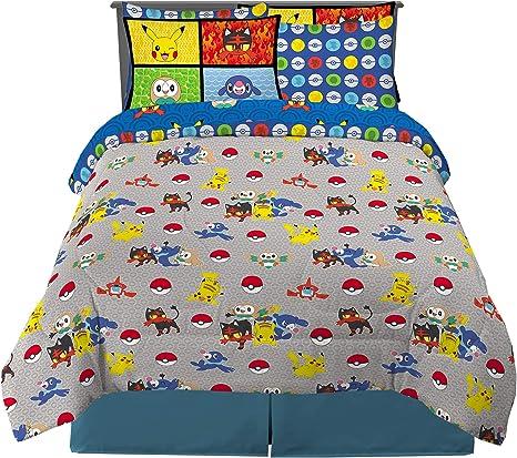 Pokemon 7 Piece Full Size Franco Kids Bedding Comforter and Sheet Set with Sham