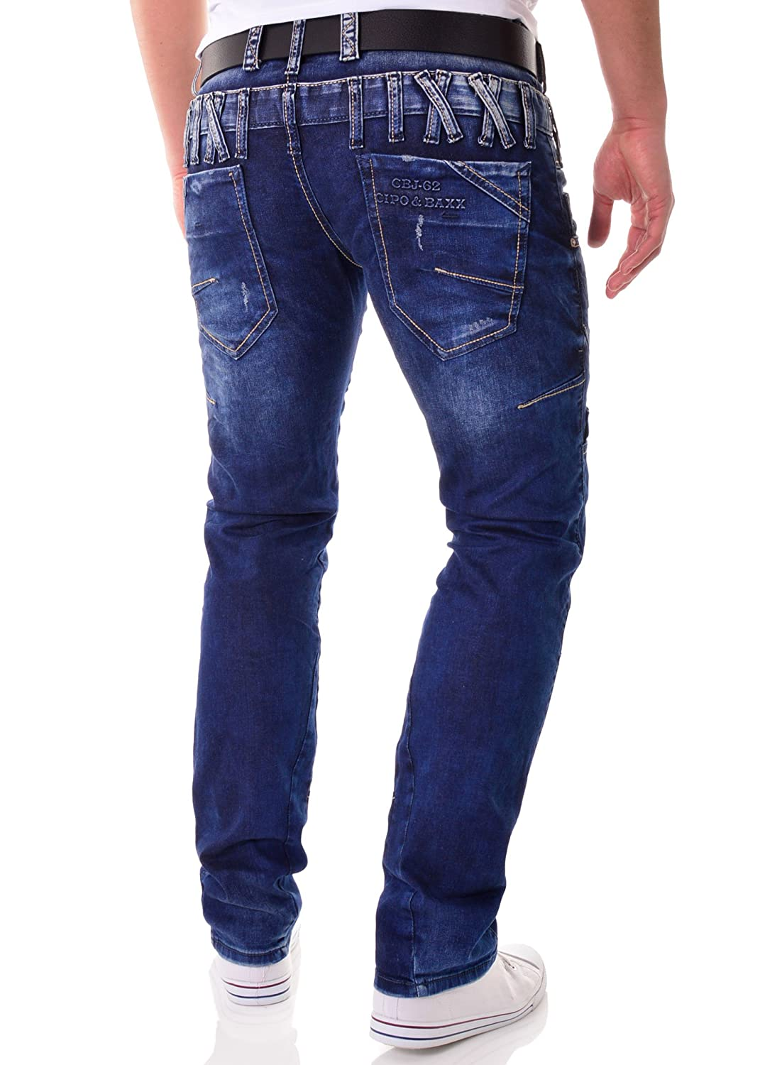 155f75a8a3 Cipo   Baxx Men s Blue Jeans Trousers Pants with Double Waist and Seams  W38 L34  Amazon.co.uk  Clothing