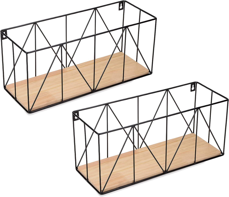 Vertical Standards Wall Storage Baskets: Modern Metal Hanging Decor - Mountable Wire Organizer Bin Shelf/Basket for Kitchen, Bathroom, Garage, Pantry, Office, Entryway and Bedroom (Set of 2)
