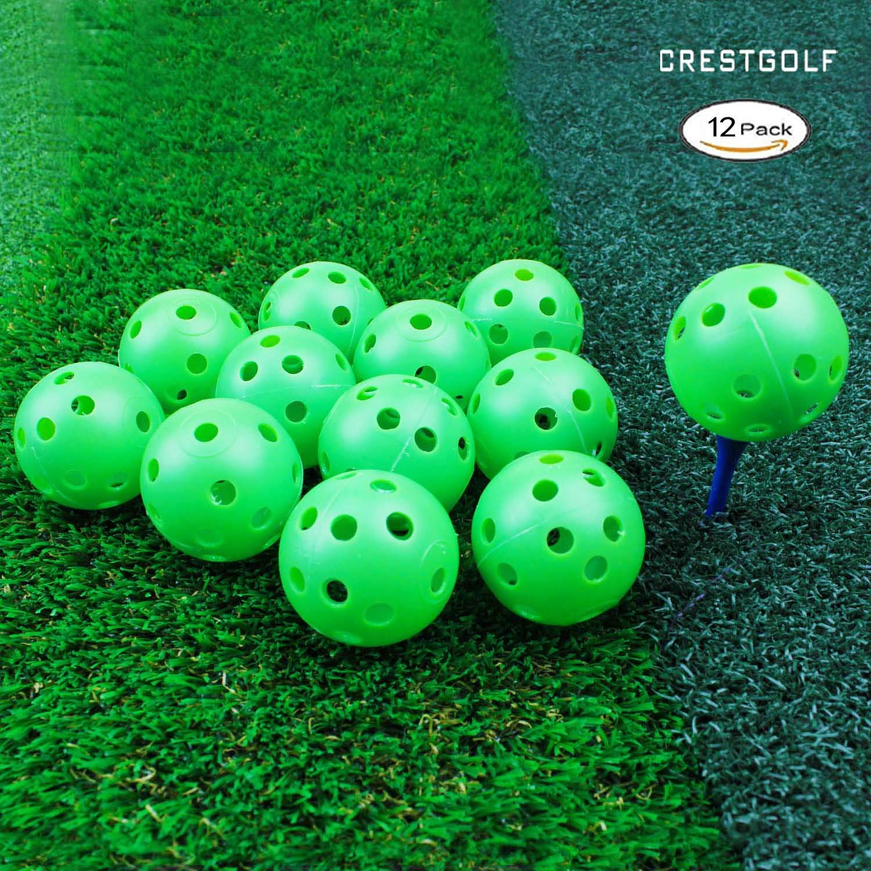 Crestgolf 40mm Plastic Airflow Golf Balls Pack of 12 (green) by Crestgolf