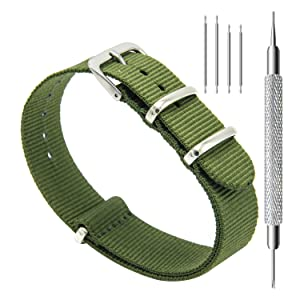 CIVO Watch Bands NATO Premium Ballistic Nylon Watch Strap Stainless Steel Buckle 18mm 20mm 22mm with Top Spring Bar Tool and 4 Spring Bars Bonus