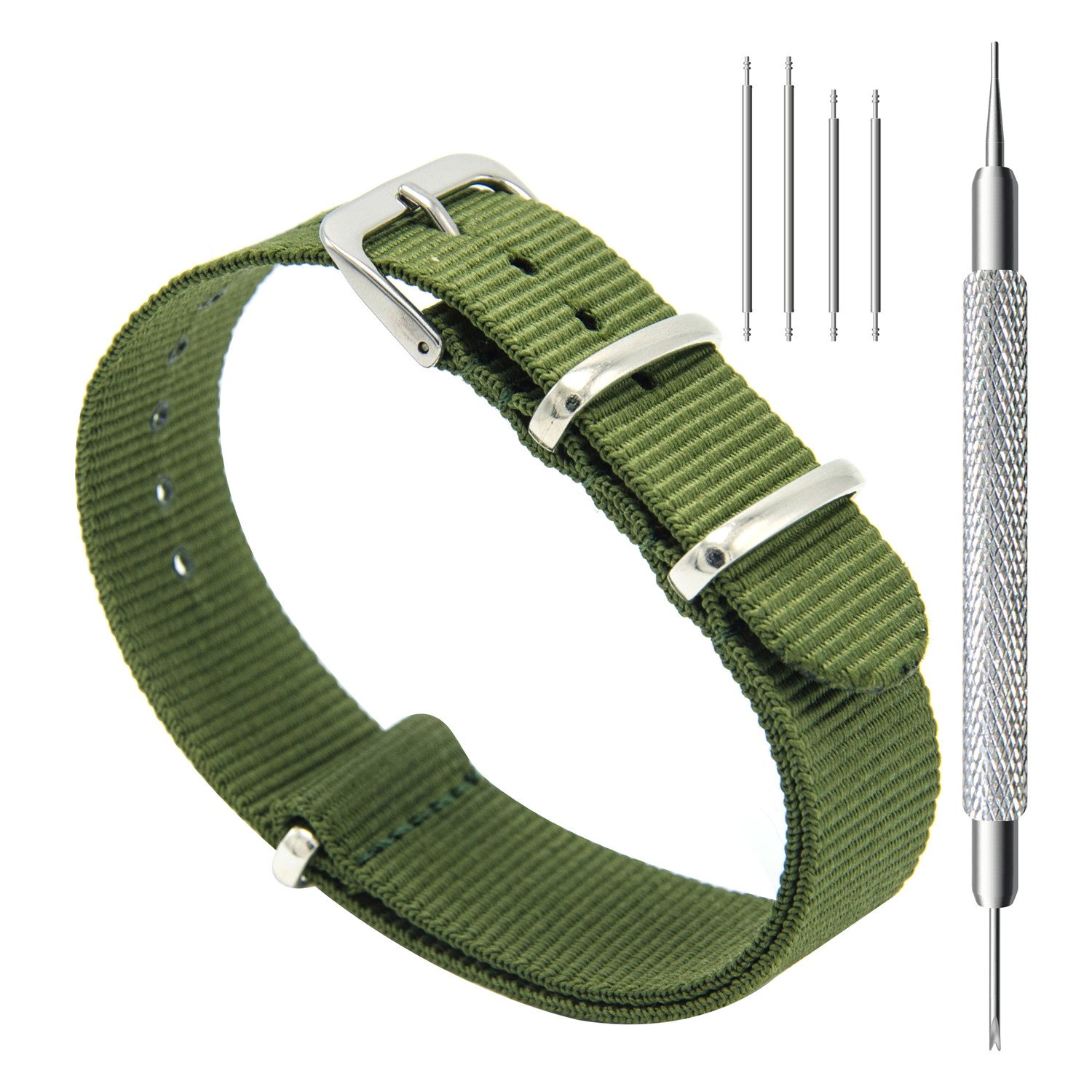 71b1322af84 CIVO Watch Bands NATO Premium Ballistic Nylon Watch Strap Stainless Steel  Buckle 18mm 20mm 22mm with Top Spring Bar Tool and 4 Spring Bars Bonus  ...