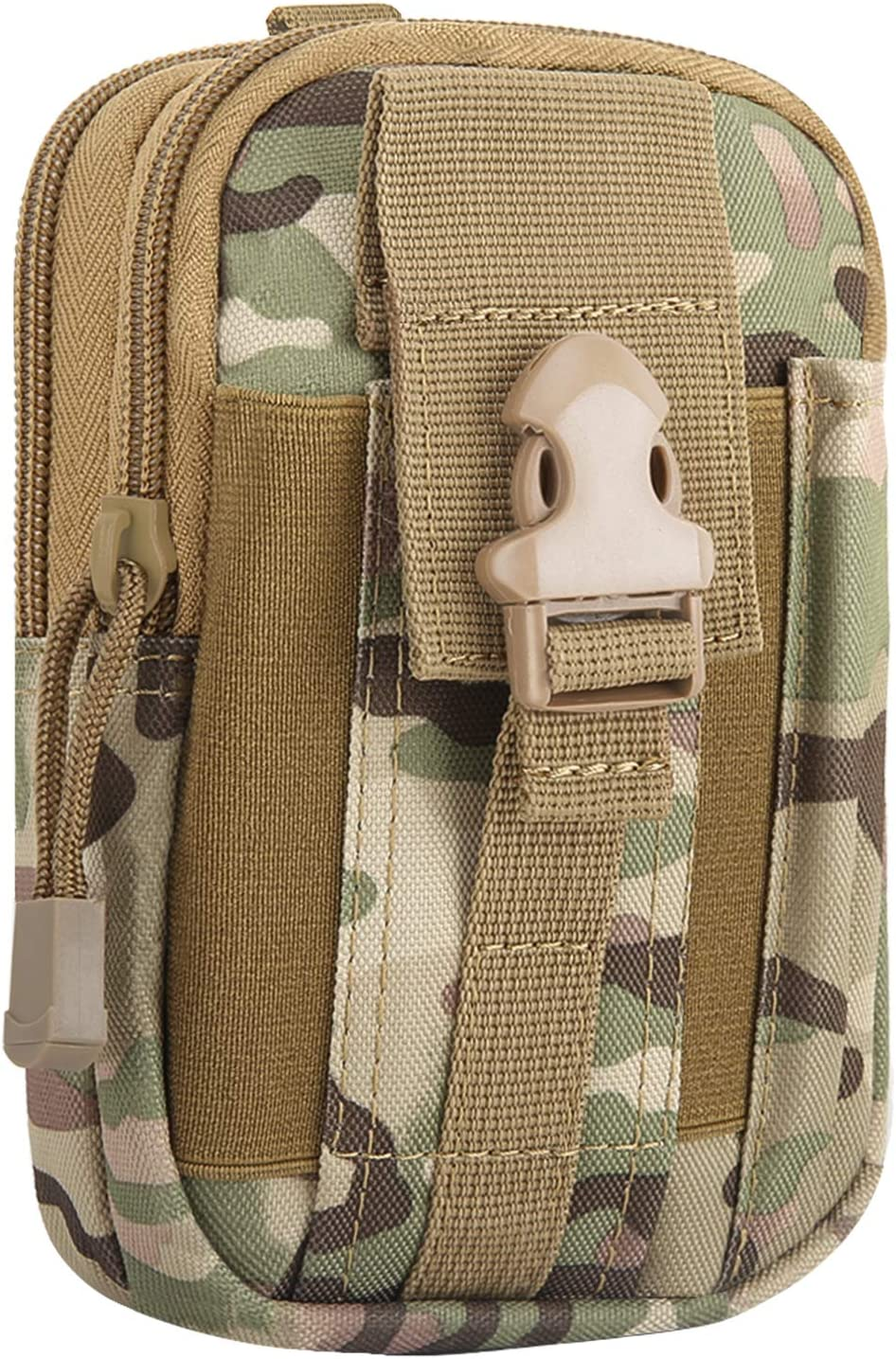 """MoKo Universal Outdoor Waist Bag, Molle Pouch Camping Belt Purse Fit 6.8"""" Phone, iPhone SE 2020/11 Pro/11/11 Pro Max/Xs Max/XR/Xs/X, Galaxy Note 10/Note 10 Plus/S10e/S10/S10 Plus - Camouflage"""