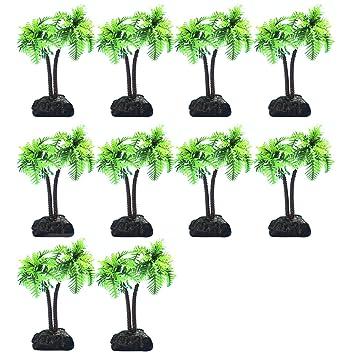 BEETEST 10 PCS Planta Plástico Decoración para Acuario Pecera plástico artificiales de coco Plantas de agua: Amazon.es: Hogar