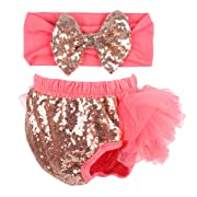 Slowera Baby Girls 2PCS Sets Cotton Tulle Sequins Diaper Cover Bloomers and Headband (Watermelon Red, S: 0-6 Months)