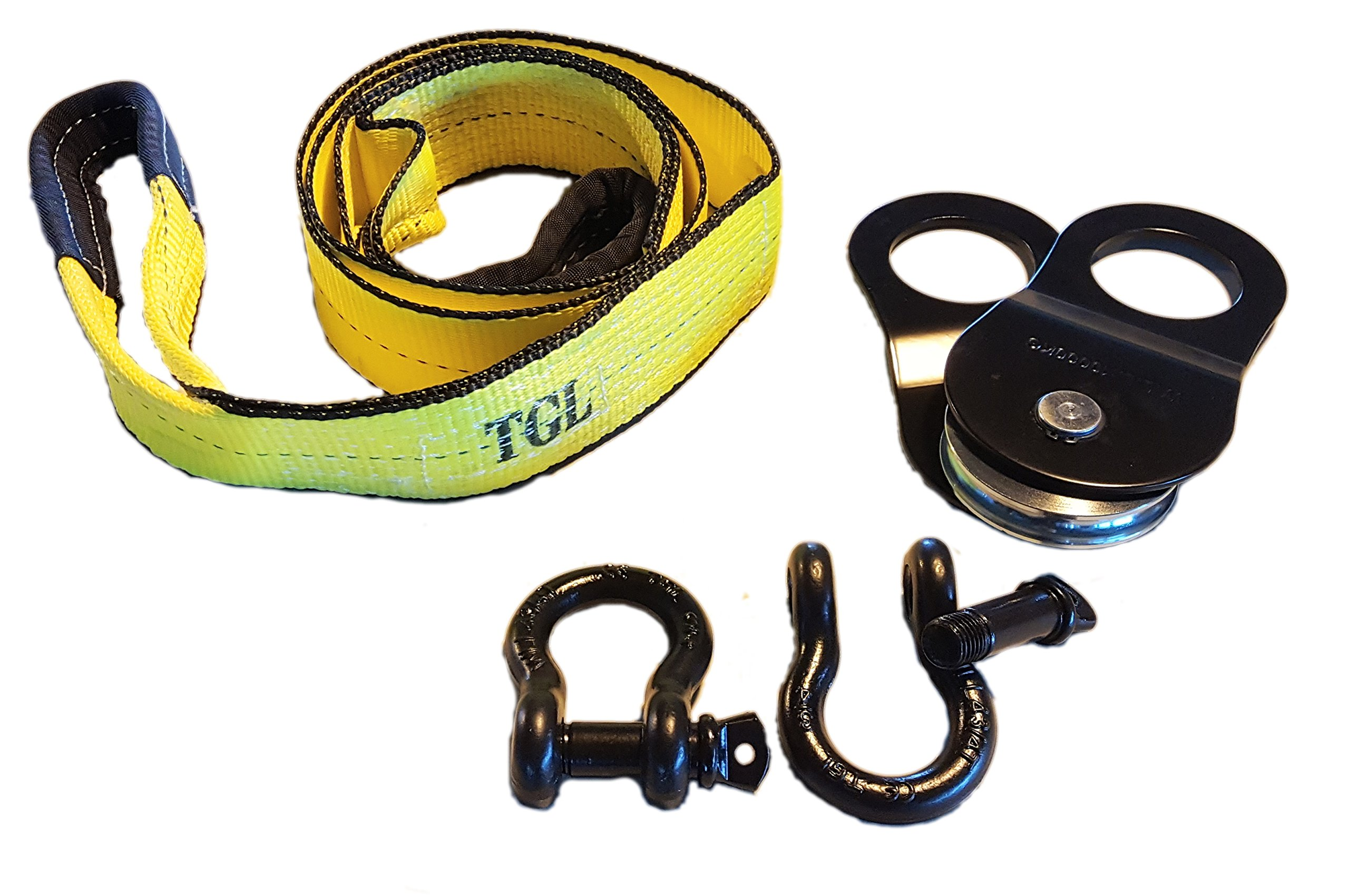 TGL 3 inch, 8 Foot Tree Saver, Tow Strap with 2-Pack D Ring Shackles and 10 Ton Snatch Block by TGL
