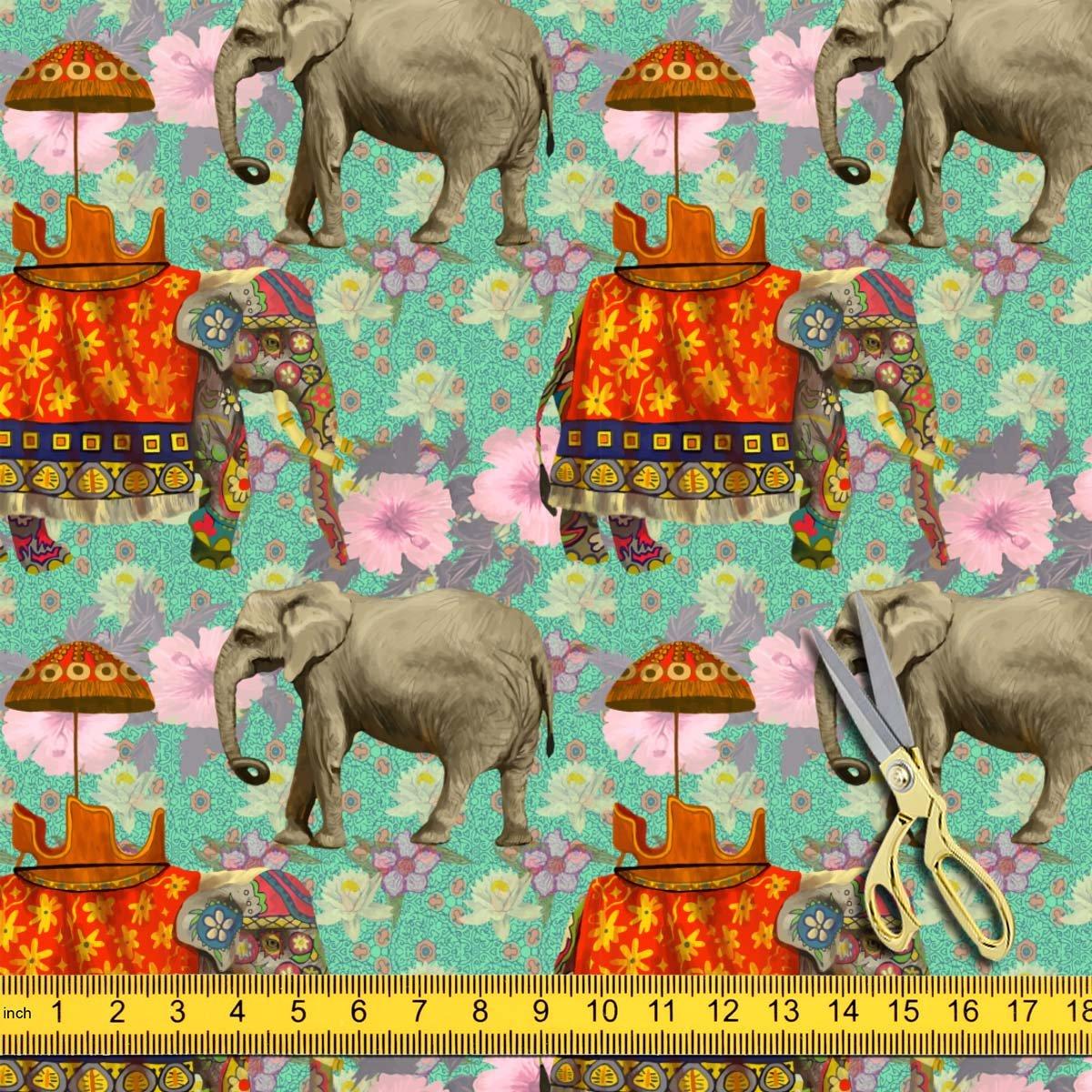 fd4eec2ab4 Amazon.com: AZ Indian Elephants Satin Fabric Dress Material & Upholstery  1.3metre x 5metre;Satin