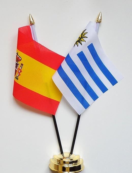 España y Uruguay amistad Bandera de mesa pantalla 25 cm (10 ...