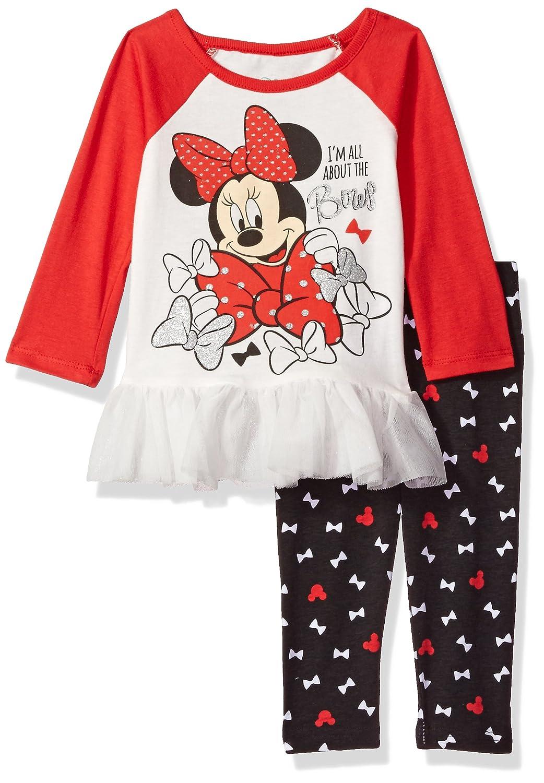 Disney Girls' 2 Piece Minnie Mouse Legging Set with Chiffon Ruffle 7ym5808