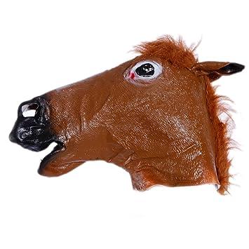 Careta Máscara de Caballo de Vinilo para Cabeza Completa Disfraz Halloween Carnaval Tema Animal y Natural