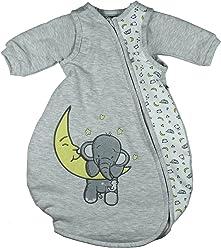 Jacky Baby Unisex Schlafsack mit abnehmbaren Ärmeln, wattiert, Elephant, Alter 2-6 Monate, Größe: 62/68, Farbe: Hellgrau meliert, 350017