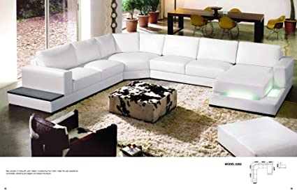 My Aashis Divani Casa 2263   Modern Contemporary Leather Sectional Sofa  White Color Light