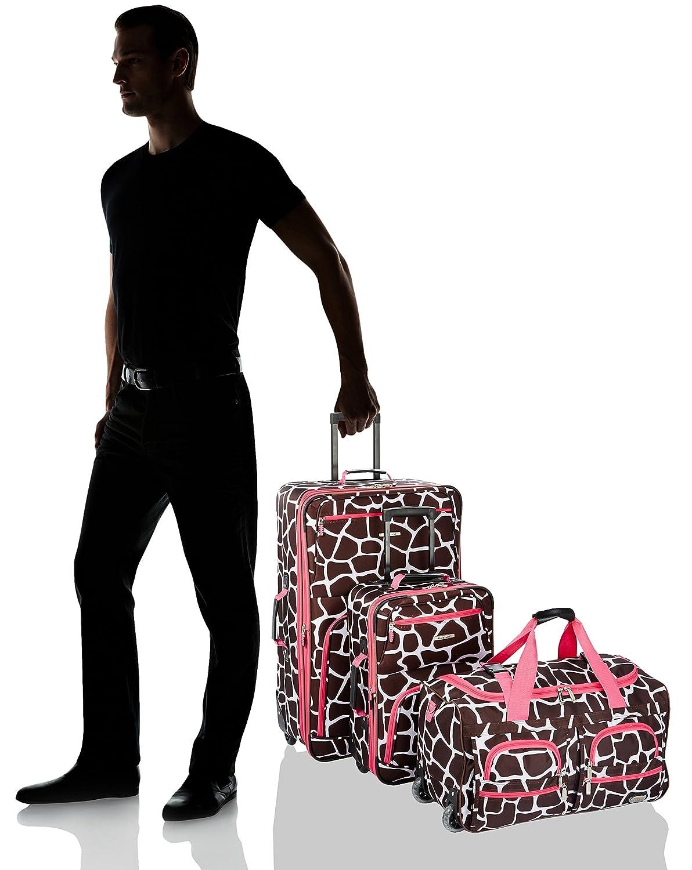 Rockland Vara Softside 3-Piece Upright Luggage Set Black dot