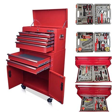 US PRO Tools - Carro de herramientas, color rojo brillante