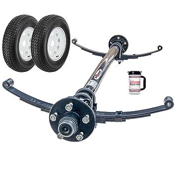 3500 Lb remolque Eje Tensor con muelles de doble ojo, pernos, ruedas y neumáticos