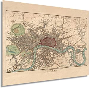 HISTORIX Vintage 1815 London England Map Poster - 18x24 Inch Vintage Map of London Wall Art - Historic London Wall Decor - Old Map of London England Wall Art (2 Sizes)