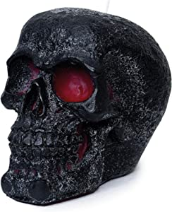 CANDWAX 6x4.3 inch Black Skull Candle Perfect for Halloween Skull Decoration and Halloween Party Decoration - Themed Candles for Halloween Skull Shaped Candle - Red Inside, Big Size