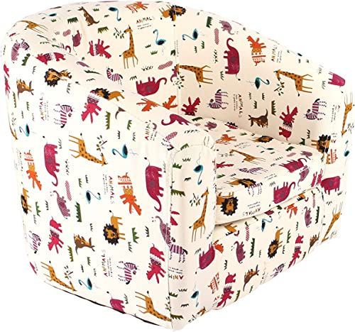 Emall Life Kid s Armchair Children s Roundy Chair Cartoon Sofa Wooden Frame Animal