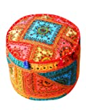Embroidered Indian Mirror work Ottoman Pouf Cover