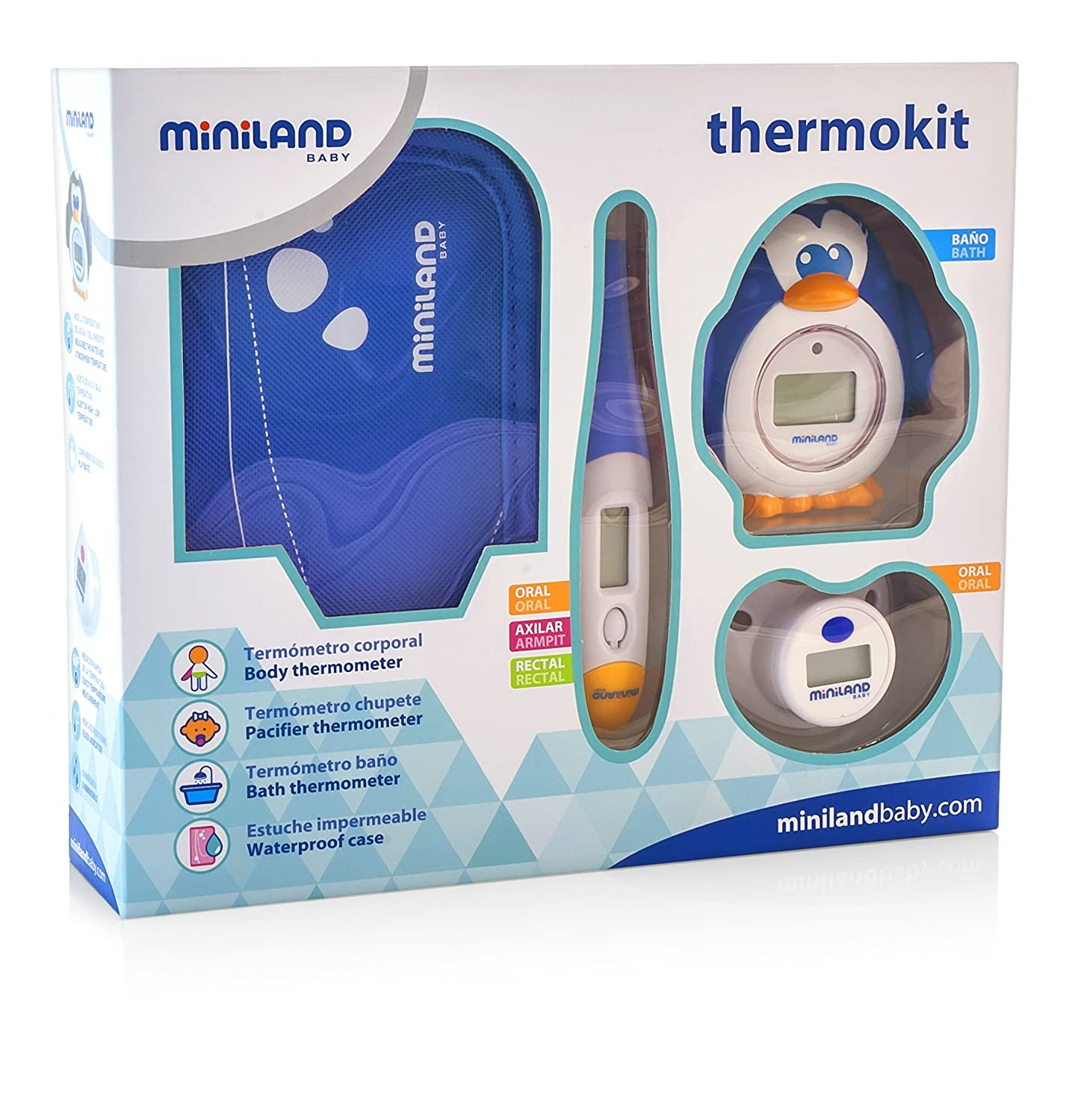 Miniland Easy to Use Thermometers, Blue, 3-Piece: Amazon.co.uk: Baby