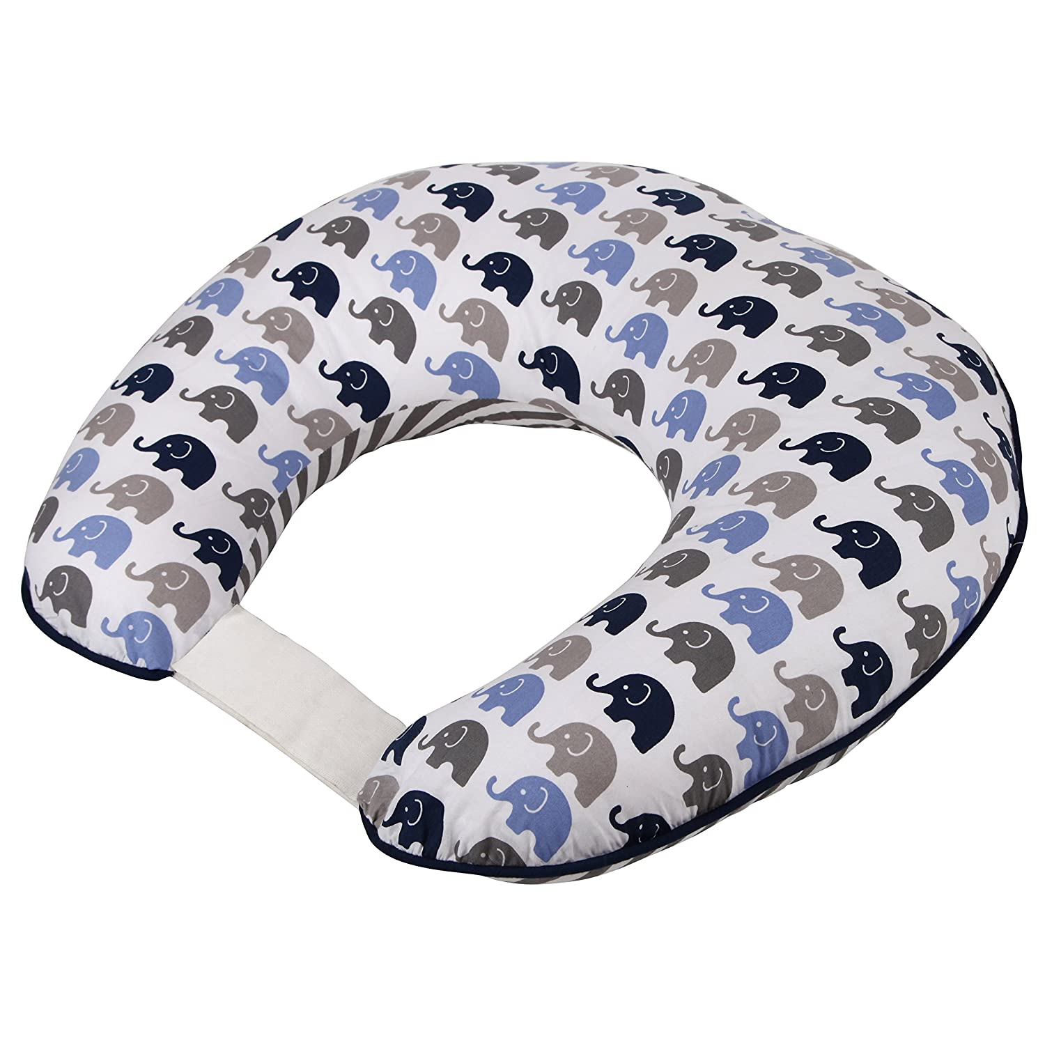 Elephants Blue/Grey Nursing Pillow Bacati EBGHUG