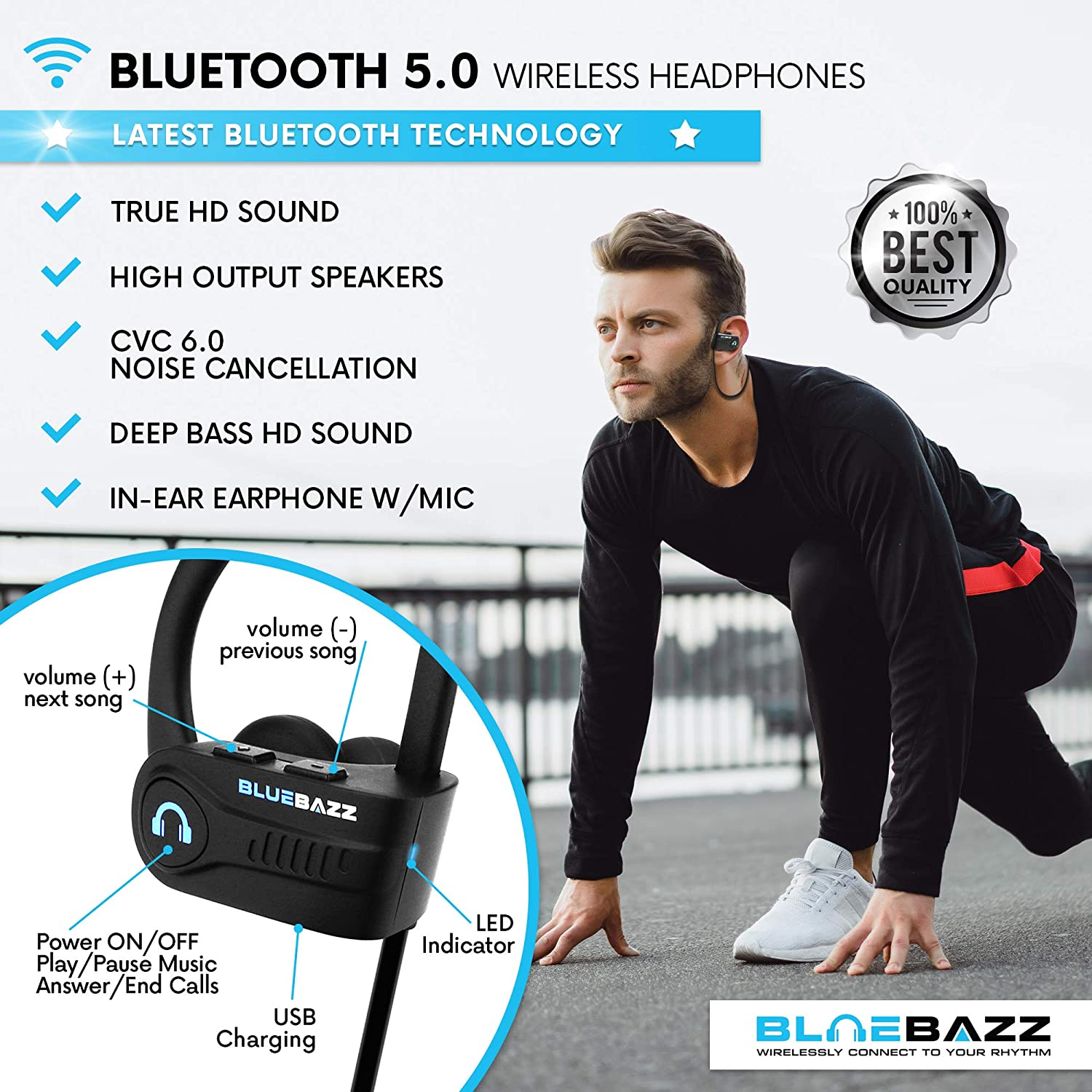 BlueBazz Sport S1 Bluetooth 5.0 Wireless Headphones Sport Earphones W Mic, Deep Bass Beats HD Stereo Sound IPX7 Water Proof Sweat Proof Earbuds for Gym Running Workout Noise Cancelling 9 Hours Playing