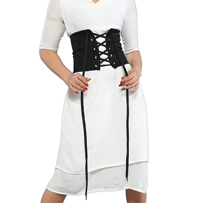 2834769c26 Yizenge Womens Suede Lace Up Tied Wide Waist Corset Belt Cincher at ...