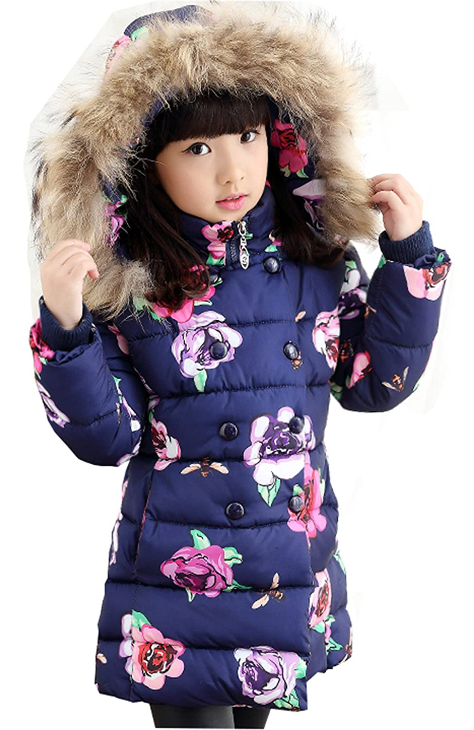 WEONEDREAM Princess Girls Medium-Long Winter Jackets Cotton-Padded & Fur Hood Coats