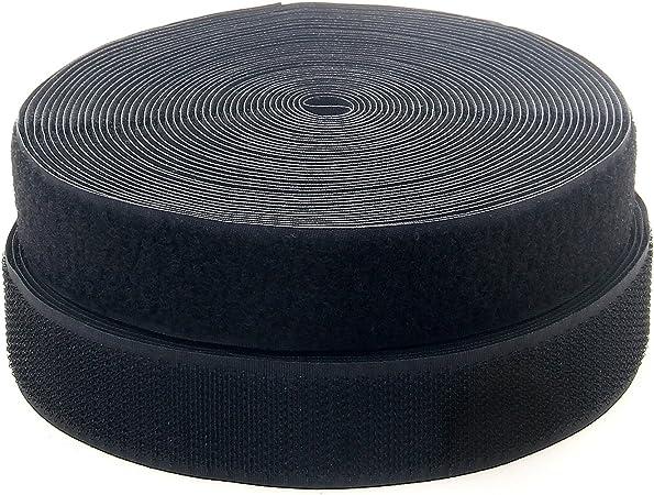 negro TKB5030 black 50 mm de ancho de vuelta sin adhesivo 25m gancho y 25m bucle cinta TUKA 25m x 50mm Hook y Loop Bandas para coser Cinta de Gancho y Bucle no autoadhesivas