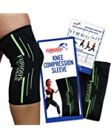 Furious Fitwear Knee Compression Sleeve for Running, Basketball & Weight Lifting - Sports Brace or Sleeves for ACL, PCL, Meniscus Tear, Tendonitis, Bursitis, Patella, Joint Pain & Arthritis – Single