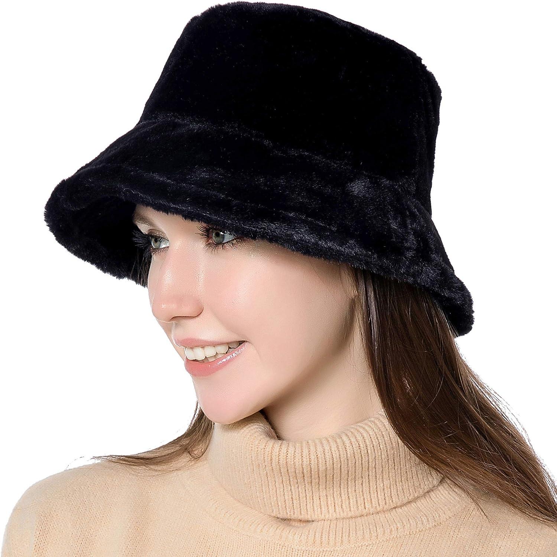 OrientalPort Women Bucket Hat Winter Warm Fluffy Plush Fisherman Hat Packable Fuzzy Fleece Cap Solid Color Thicken Wide Brim Hat Foldable Adjustable