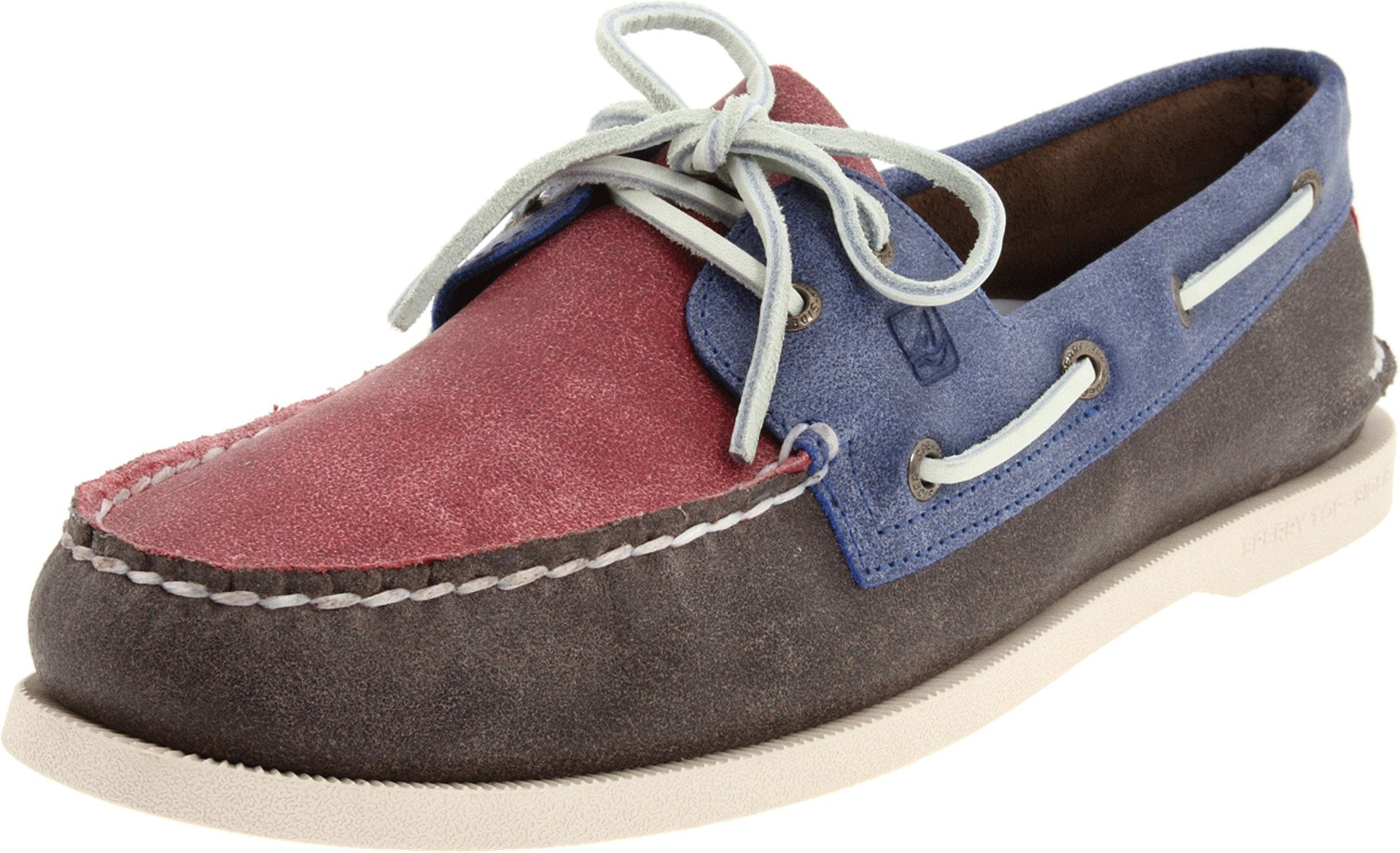 Sperry Top-Sider Men's A/O 2 Eye Salt Stained Boat Shoe,Blue/Brown/Red,8.5 M US by Sperry Top-Sider