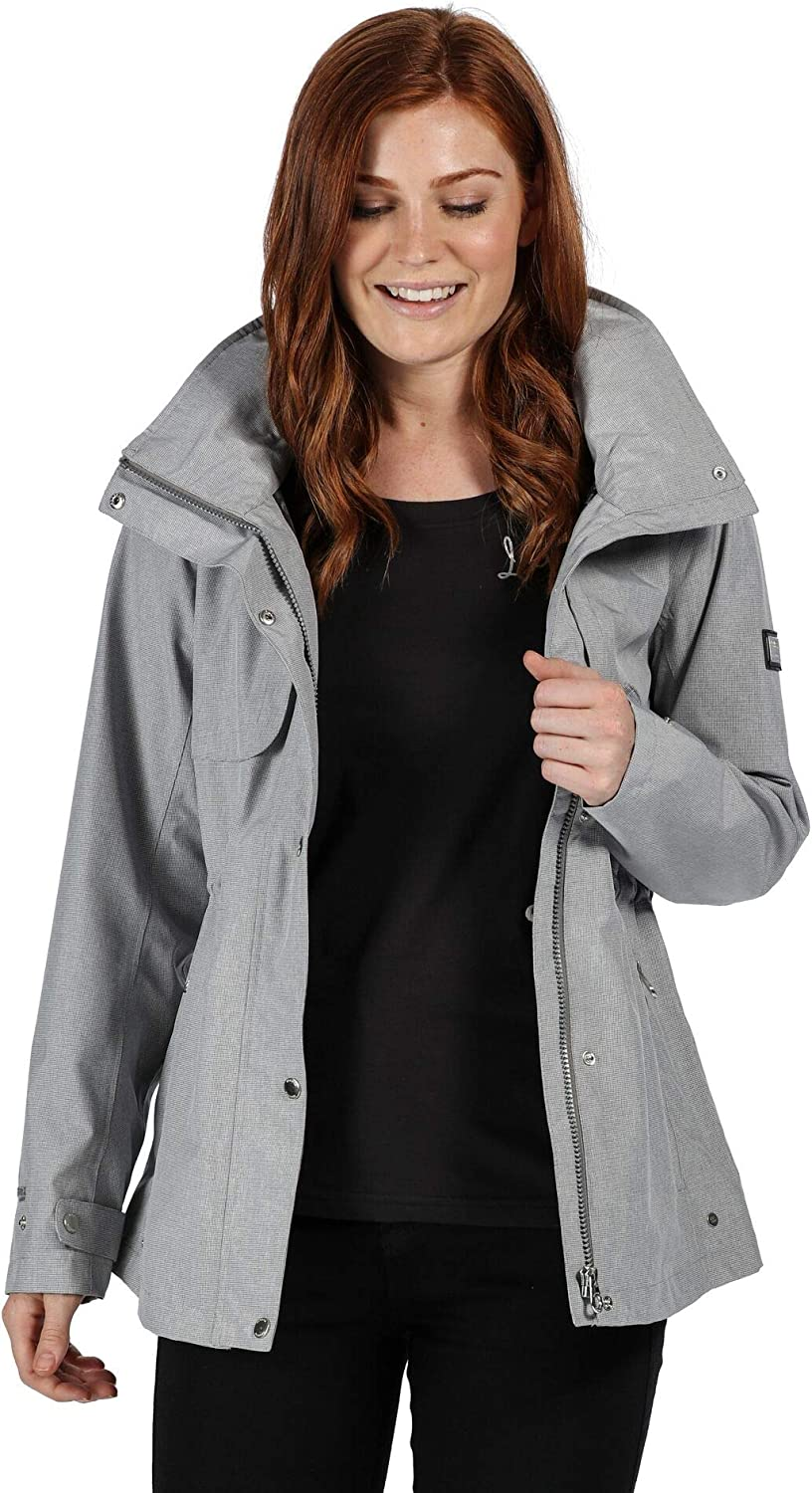 Regatta Womens Narelle Breathable With Packaway Hood /& Studded Back Vents Jackets Waterproof Shell