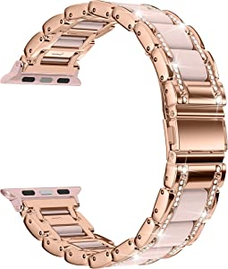 Moolia Metal Strap Band Compatible with Apple Watch Band 38mm 40mm Womens Rhinestones Resin Metal Wristband Bracelet Replacement for iWatch Series 6 5 4 3 2 1 Rose Gold + Pink