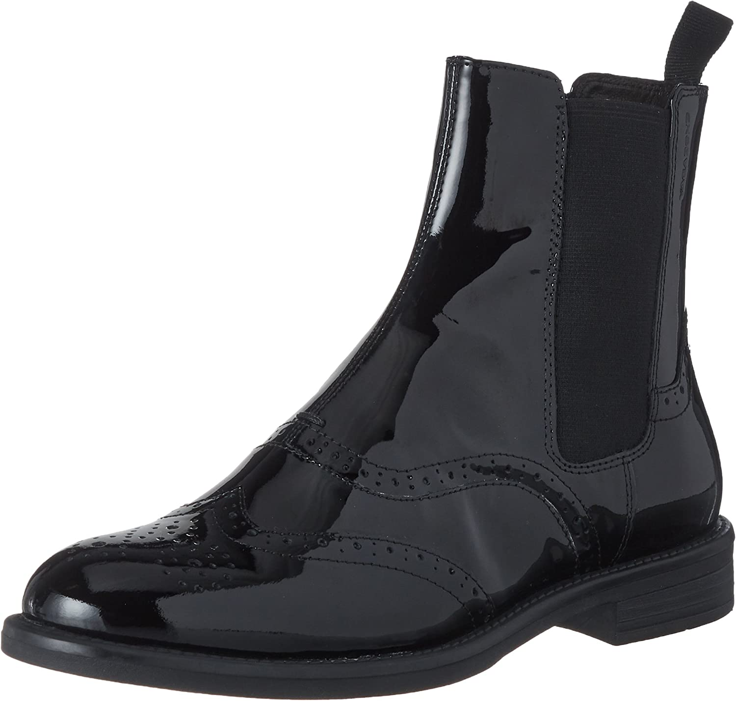 Block Heel Patent Leather Ankle Boot