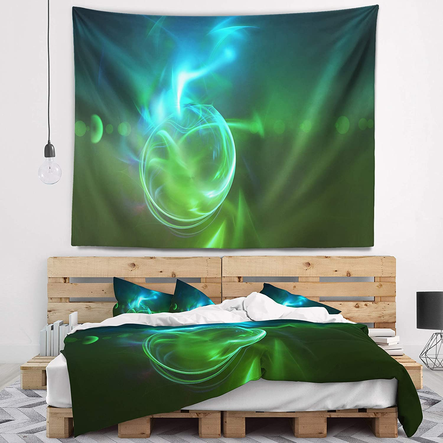 x 32 in Created On Lightweight Polyester Fabric Medium: 39 in Designart TAP7716-39-32 Glowing Green Circles Abstract Blanket D/écor Art for Home and Office Wall Tapestry