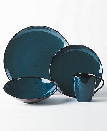 Amazon.com | Mikasa Sedona Blue 4-Piece Dinnerware Set, Service for ...