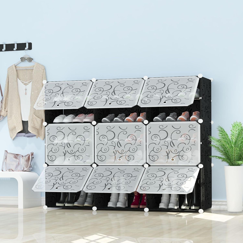 Premag Portable Schuhablage Organizer Cabinet Tower Schwarz Mit