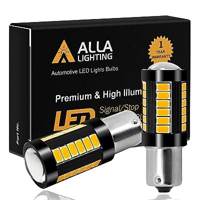 Alla Lighting 2800lm BA15S 7506 1156 LED Turn Signal Light Bulbs Xtreme Super Bright P21W 1156 LED Bulbs High Power 5730 33-SMD LED 1156 Bulb for Turn Signal Light Lamp Replacement, Orange Yellow: Automotive