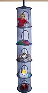 "5 Tier Storage Organizer - 12"" X 59"" - Hang in Your Children's Room or Closet for a Fun Way to Organize Kids Toys or Store Gloves, Shawls, Hats and Mittens. Attaches Easily to Any Rod. (Navy Blue)"
